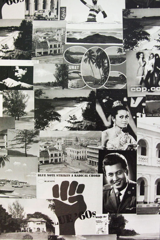 Collage inspiré d'images vintage accoudé au lit